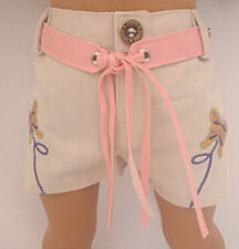 """Beige Shorts with Embroidered Buttefly Fits 18"""" American Girl  Dolls"""