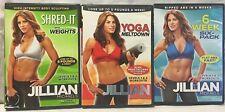 3 Jillian Michaels DVD lot Yoga meltdown 6 week six pack shred it with weights