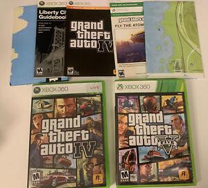 Grand Theft Auto IV + V Lot of 2 GTA 4 & 5 Bundle Xbox 360 MINT discs w/ Map CIB