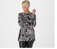 Susan Graver Printed Liquid Knit Tunic with Chiffon Hem Black/Ivory XX-Small