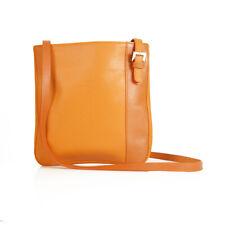 Longchamp Orange Pebbled leather shoulder bag Messenger Handbag