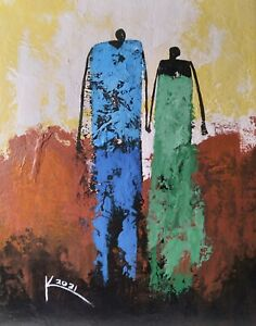 10 x 8 Ken Joslin Original African-American Love Romance Art Abstract Painting