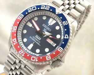 Seiko Blue Shimmer Prospex PADI Pepsi GMT Day Date Automatic Divers Watch SKX009