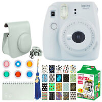 Fujifilm instax mini 9 Instant Film Camera (Smokey White) + Instax 20 + Frames