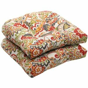 """Pillow Perfect Outdoor/Indoor Zoe Citrus Tufted Seat Cushions Round Back 19"""" ..."""
