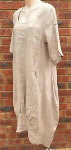 Beige Long Cocoon Linen Dress Roll Up Sleeve NWT sizes 10 12 14 16 18