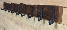 "54"" Reclaimed Vintage White Pine Coat Rack with 9 Railroad Spike Hooks"