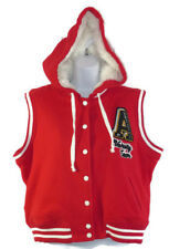 Aeropostale Hooded Vest XL Juniors Varsity Letterman Faux Fur Lined Red