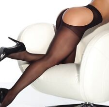 Coquette Black Sheer Thong Back Hosiery Tights Pantyhose O/S