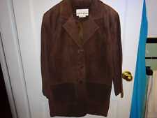 MARGARET GODFREY LONG BROWN SUEDED LEATHER 3 BUTTON DOWN JACKET SIZE 6 LOW PRICE