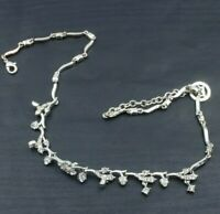 """Vintage Signed Crown Trifari Silver Toned Rhinestone Statement Necklace 18"""" d8"""