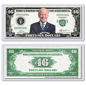 President Joe Biden 2020 Collectible USA America 46 Dollar Bill with Case