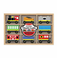 Melissa & Doug TRAIN CARS Wooden Toy (9 train cars ) new sealed .