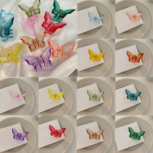 Women Small Butterfly Acrylic Hair Claw Colorful Transparent Mini Hair Clamp US