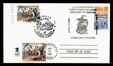 DR WHO 1992 FDC JOINT ISSUE ITALY COLUMBUS 1ST VOYAGE COMBO  f30872