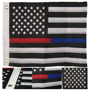 """12x18 Embroidered Sewn USA Thin Red Blue Line 220D Nylon Flag 12""""x18"""" Grommets"""