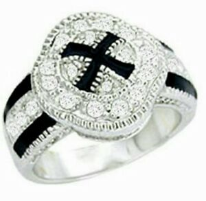 Silver Plated Cocktail Ring Cubic Zirconia Black Enamel Sizes 4-5-10
