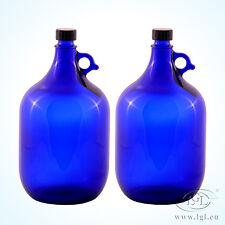 2 x 5 Litros Globo de cristal Botella azul - Vino Almacenaje Agua Asa Galón