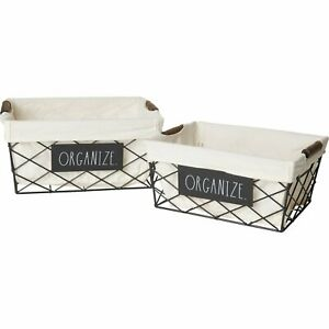 Rae Dunn 2-Pack ORGANIZE Fabric Lined Metal Baskets NWT