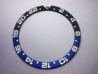 NEW 24-HOUR GMT BEZEL BLACK/BLUE INSERT FOR DIVERS SEIKO  6306/6309/7002/7548