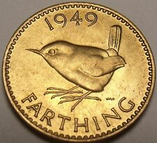 Rare Unc Great Britain 1949 Farthing~Wren~Excellent~Free Shipping