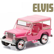 1/43 Greenlight Elvis Presley 1960 Jeep Surrey CJ3B Diecast Model Car 86472 Pink