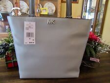New Michael Kors Leather Pearl Grey Mott Medium Tote Satchel Purse $268