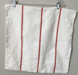 Ralph Lauren Green Tag Striped Throw Pillow Cover Stripe Redish Orange Ivory