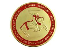 Knights Templar On Horse Red Cross Freemason Masonic Silver Plated Coin