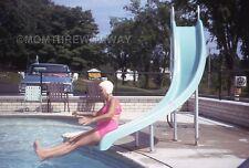 1960s COLOR SLIDE TRANSPARENCY Mature Woman Pink Bikini Water Slide Motel Pool