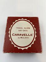 Vintage Caravelle Bulova Travel Alarm Day-Date Clock Red Cases Japan
