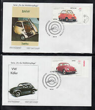 A-23) Germany 2002:  Cars Oldtimer ( Isabella, Käfer, Isetta) of 5 beautiful FDC