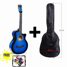 "BLUE Acoustic Guitar Package 3/4 Size 38"" Beginner Student Adult+Picks+Bag"