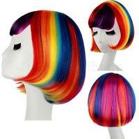 Fashion Rainbow Cosplay Wig Lady Fancy Dress Party Short Straight Hair Wig
