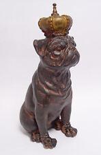Deko Figur Skulptur Bulldogge mit Krone Polyresin 29cm