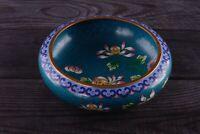 Stunning Floral Design Cloisonne Enamel Chinese Brass Low Bowl Vase 6''