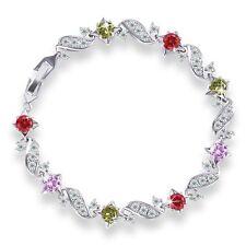 HUCHE 18k White Gold Filled Garnet/Pink/Topaz Rhinestone Lady Bracelet Bangle