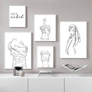 Man Woman Body Artwork Poster Aesthetic Line Drawing Art Painting Canvas Print