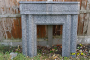 Art Deco Fireplace in Stone Marble Effect. Gray & White.