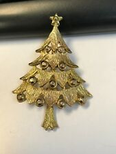 Beautiful Gold Tone Christmas Tree Brooch