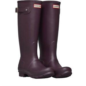 Hunter Black Grape Original Tall Wellington Boots Size Uk 5/EU38