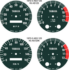 AIR COOLED RD125 RD200 AS3 RD250 RD400 SPEEDO TACHO REV COUNTER GAUGE OVERLAYS