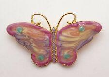 Goldtone Enamelware Pink, Purple Butterfly Brooch, Pin