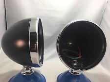 "Pair Dietz 7"" Black Street Rod Head Light Lamp Buckets Assembly Wired Bullet"
