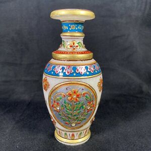 """Handpainted Marble Single Flower Vase With Floral Pattern And Rhinestones, 6.25"""""""
