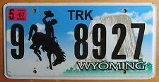 Wyoming 2007 BIG HORN COUNTY TRUCK License Plate NATURAL # 9 8927
