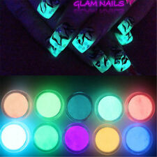 Nail Art Glow in the Dark UV Fluorescent Pigment Powder Acrylic Gel Polish UK