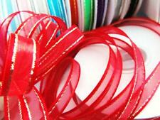 "25 yard Roll 3/8"" Organza Sheer Ribbon/Gold Edge Trim/Christmas/gift/bow R11-Red"