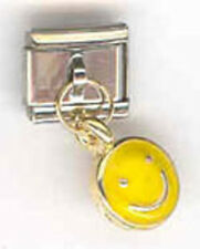 1 Smiley Face Dangle 9MM Stainless Steel Italian Charm