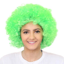 Adultos Green Afro Peluca 60's 70's Disco Hippy Fancy Dress Stag irlandés St Patricks